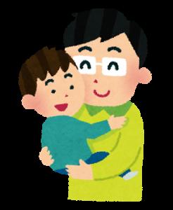 パパに抱っこ男の子
